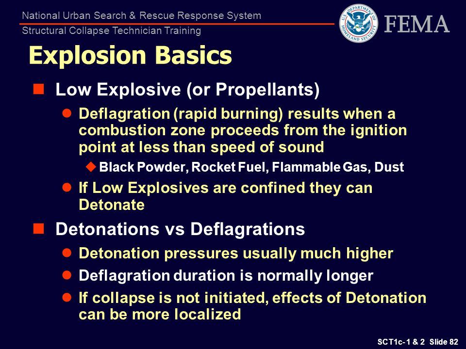 SCT1c- 1 & 2 Slide 82 National Urban Search & Rescue Response System Structural Collapse Technician Training Explosion Basics Low Explosive (or Propel