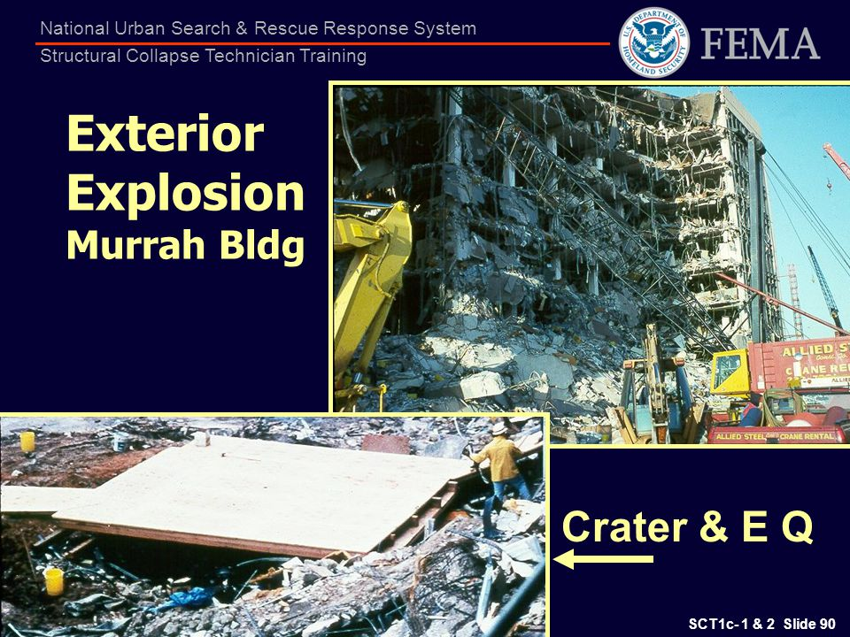 SCT1c- 1 & 2 Slide 90 National Urban Search & Rescue Response System Structural Collapse Technician Training Exterior Explosion Murrah Bldg Crater & E