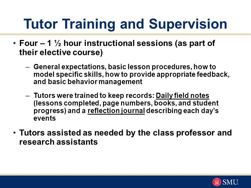 Tutor Training and Supervision Four – 1 ½ hour instructional sessions (as part of their elective course) –General expectations, basic lesson procedures, how to model specific skills, how to provide appropriate feedback, and basic behavior management –Tutors were trained to keep records: Daily field notes (lessons completed, page numbers, books, and student progress) and a reflection journal describing each days events Tutors assisted as needed by the class professor and research assistants