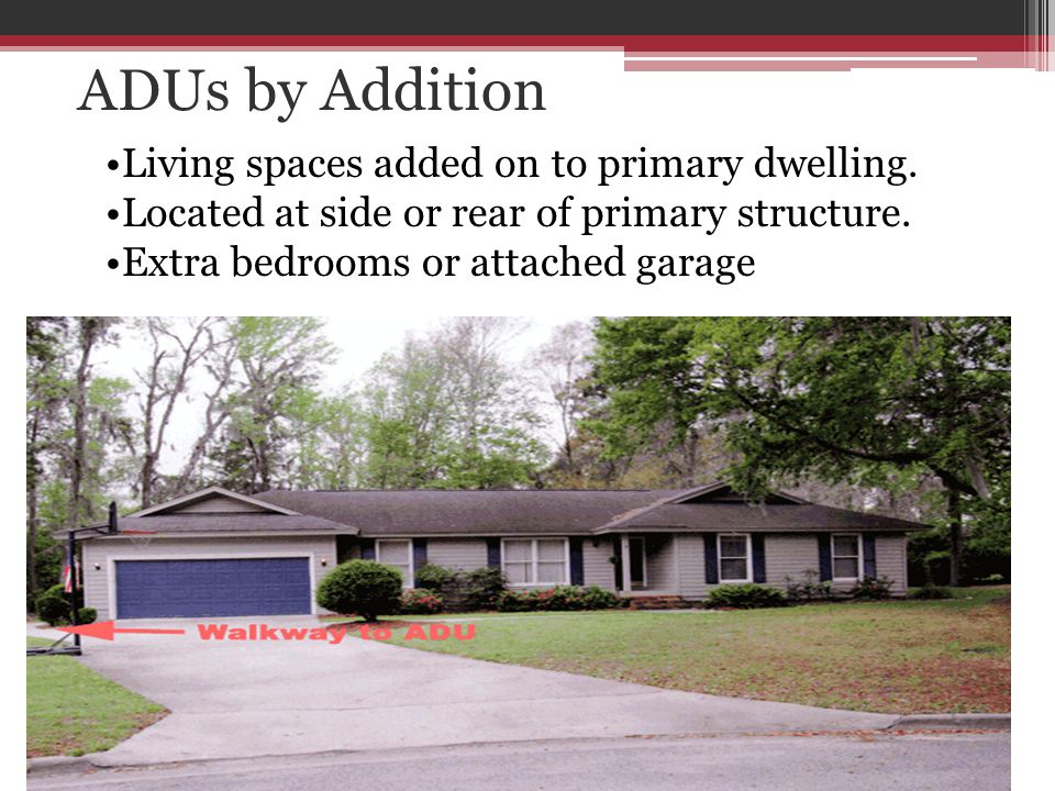 ADUs by Addition Living spaces added on to primary dwelling.