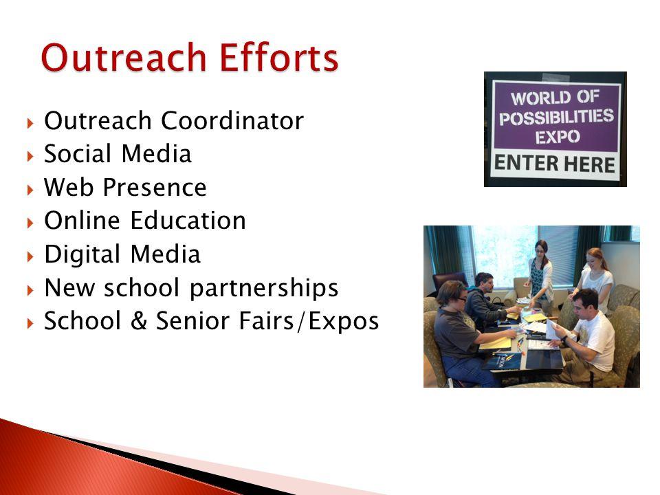 Outreach Coordinator Social Media Web Presence Online Education Digital Media New school partnerships School & Senior Fairs/Expos