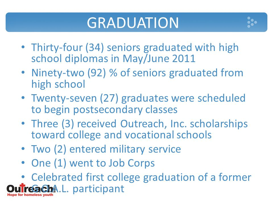 GRADUATION Thirty-four (34) seniors graduated with high school diplomas in May/June 2011 Ninety-two (92) % of seniors graduated from high school Twenty-seven (27) graduates were scheduled to begin postsecondary classes Three (3) received Outreach, Inc.