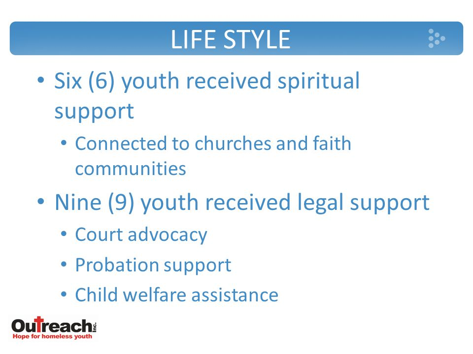 LIFE STYLE Six (6) youth received spiritual support Connected to churches and faith communities Nine (9) youth received legal support Court advocacy Probation support Child welfare assistance