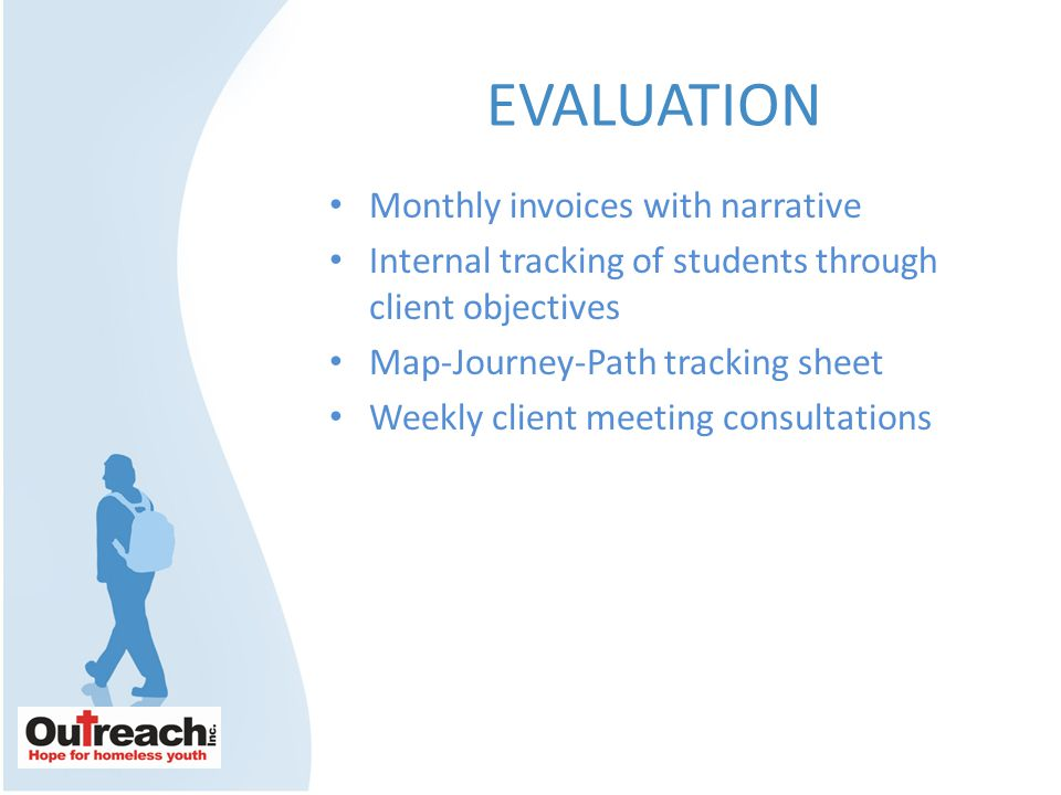 EVALUATION Monthly invoices with narrative Internal tracking of students through client objectives Map-Journey-Path tracking sheet Weekly client meeting consultations
