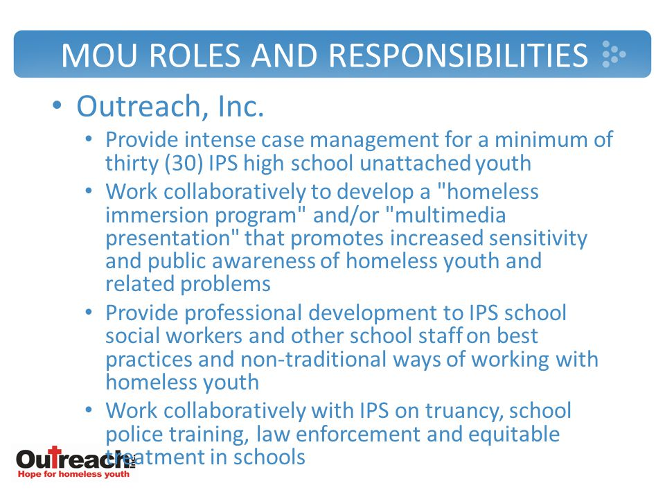 MOU ROLES AND RESPONSIBILITIES Outreach, Inc.