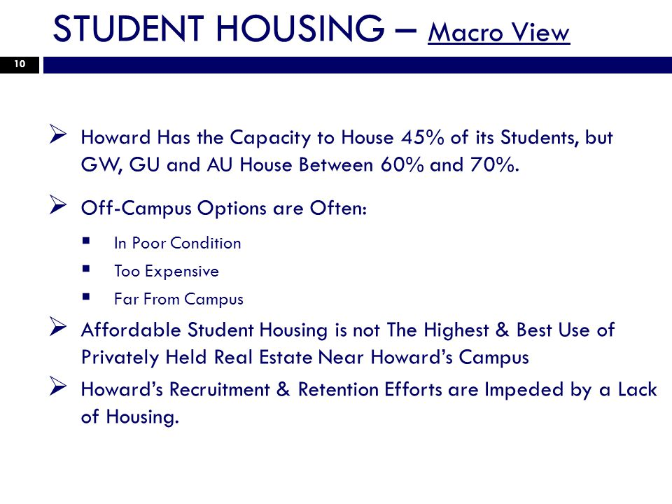 STUDENT HOUSING – Macro View 10 Howard Has the Capacity to House 45% of its Students, but GW, GU and AU House Between 60% and 70%.