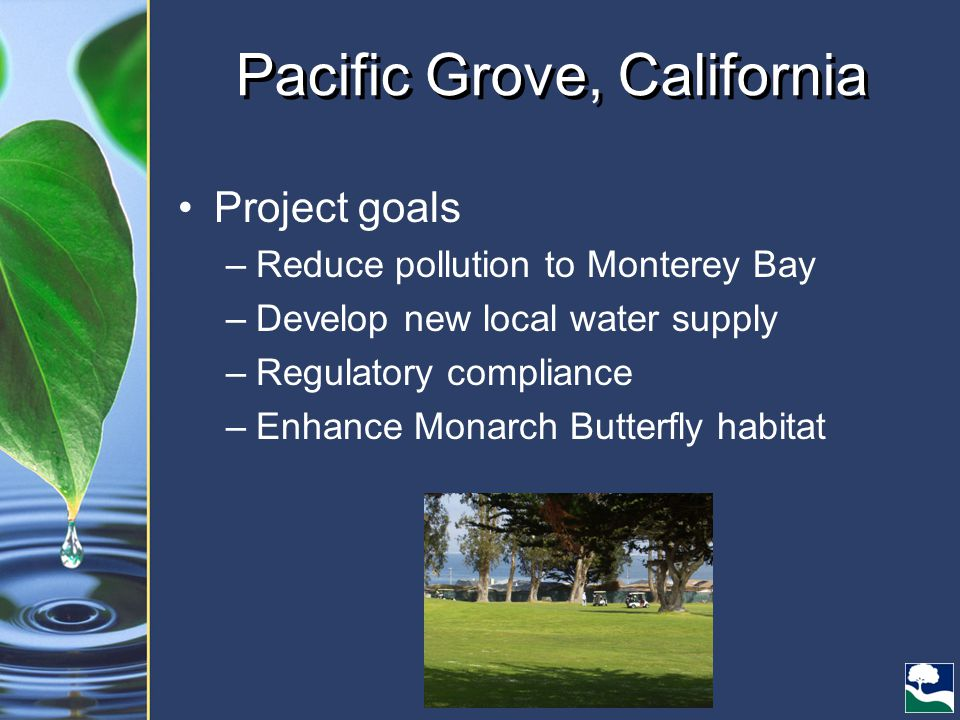 Pacific Grove, California Project goals –Reduce pollution to Monterey Bay –Develop new local water supply –Regulatory compliance –Enhance Monarch Butterfly habitat