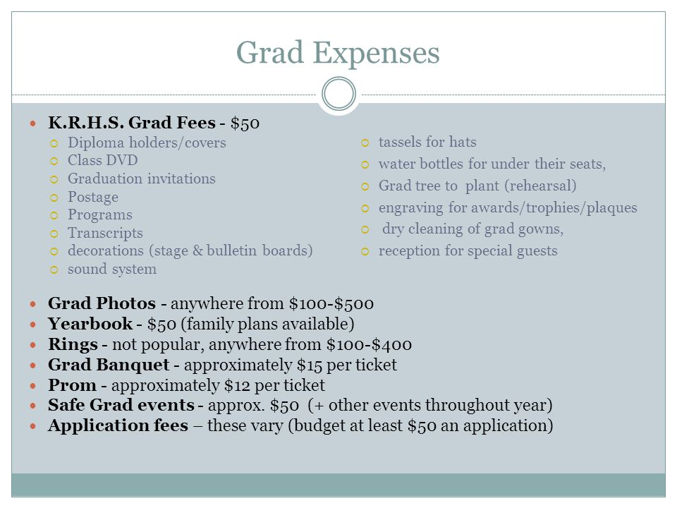 Grad Expenses K.R.H.S. Grad Fees - $50 Diploma holders/covers Class DVD Graduation invitations Postage Programs Transcripts decorations (stage & bulle