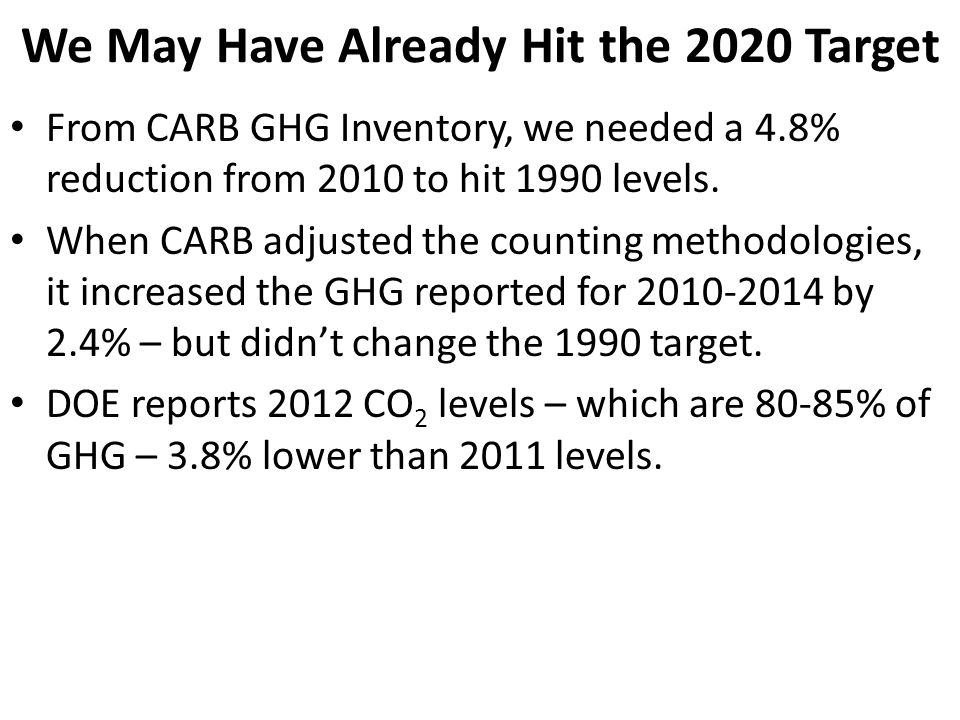 We May Have Already Hit the 2020 Target From CARB GHG Inventory, we needed a 4.8% reduction from 2010 to hit 1990 levels.