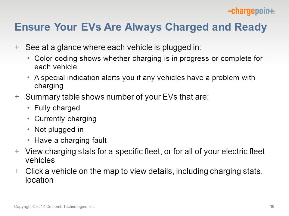 Copyright © 2012 Coulomb Technologies, Inc. Ensure Your EVs Are Always Charged and Ready +See at a glance where each vehicle is plugged in: Color codi