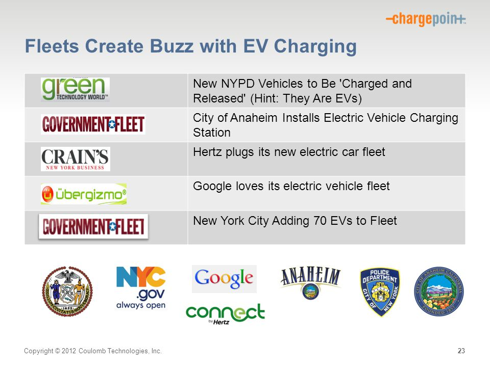 Copyright © 2012 Coulomb Technologies, Inc. Fleets Create Buzz with EV Charging New NYPD Vehicles to Be 'Charged and Released' (Hint: They Are EVs) Ci