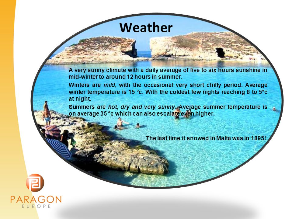 Weather A very sunny climate with a daily average of five to six hours sunshine in mid-winter to around 12 hours in summer.