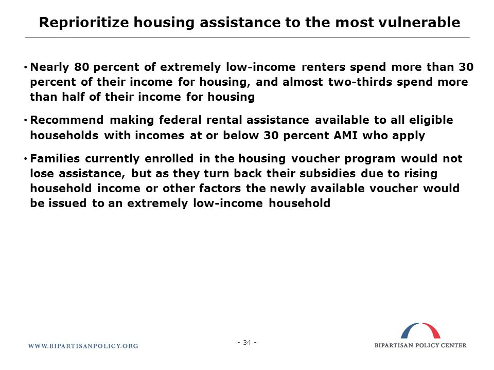 Reprioritize housing assistance to the most vulnerable Nearly 80 percent of extremely low-income renters spend more than 30 percent of their income fo