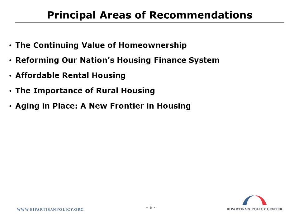 Principal Areas of Recommendations - 5 -