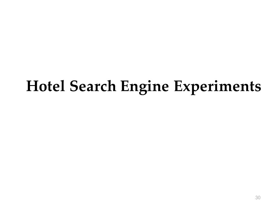 30 Hotel Search Engine Experiments