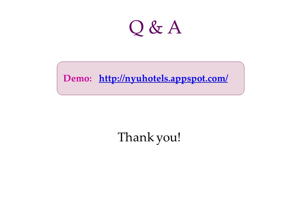 Demo: http://nyuhotels.appspot.com/http://nyuhotels.appspot.com/ Q & A Thank you!