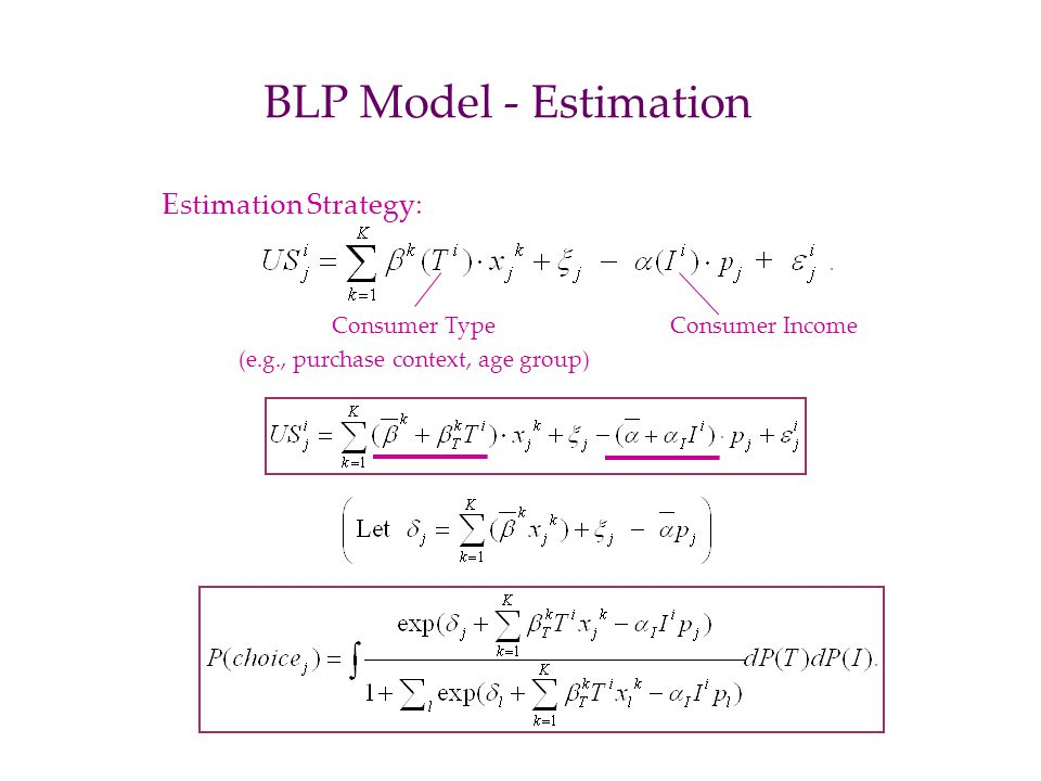 BLP Model - Estimation Estimation Strategy: Consumer Type (e.g., purchase context, age group) Consumer Income