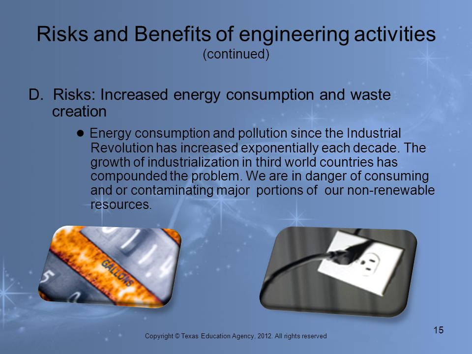 D. Risks: Increased energy consumption and waste creation Energy consumption and pollution since the Industrial Revolution has increased exponentially