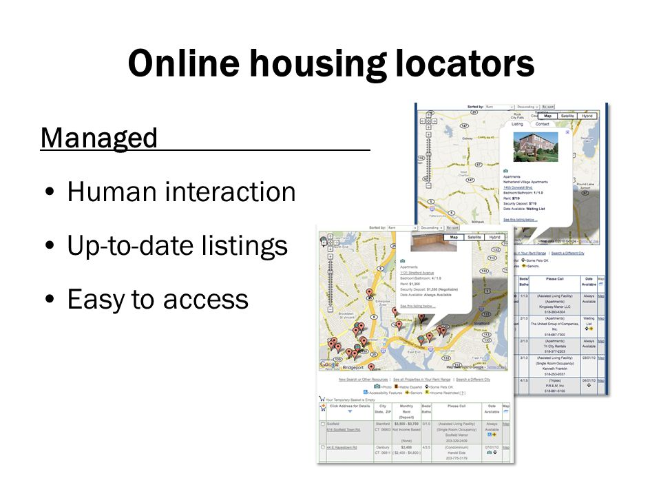 Online housing locators Managed Human interaction Up-to-date listings Easy to access