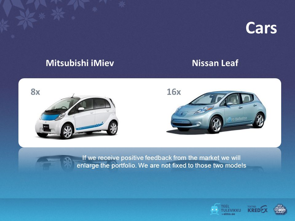 Cars Mitsubishi iMievNissan Leaf 8x16x If we receive positive feedback from the market we will enlarge the portfolio.