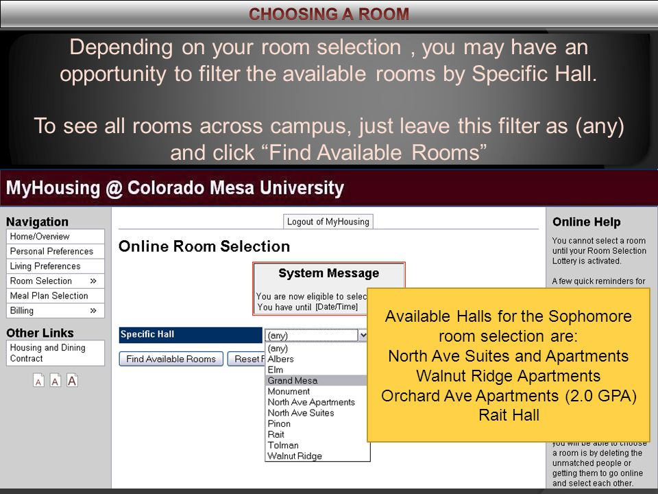 Depending on your room selection, you may have an opportunity to filter the available rooms by Specific Hall.