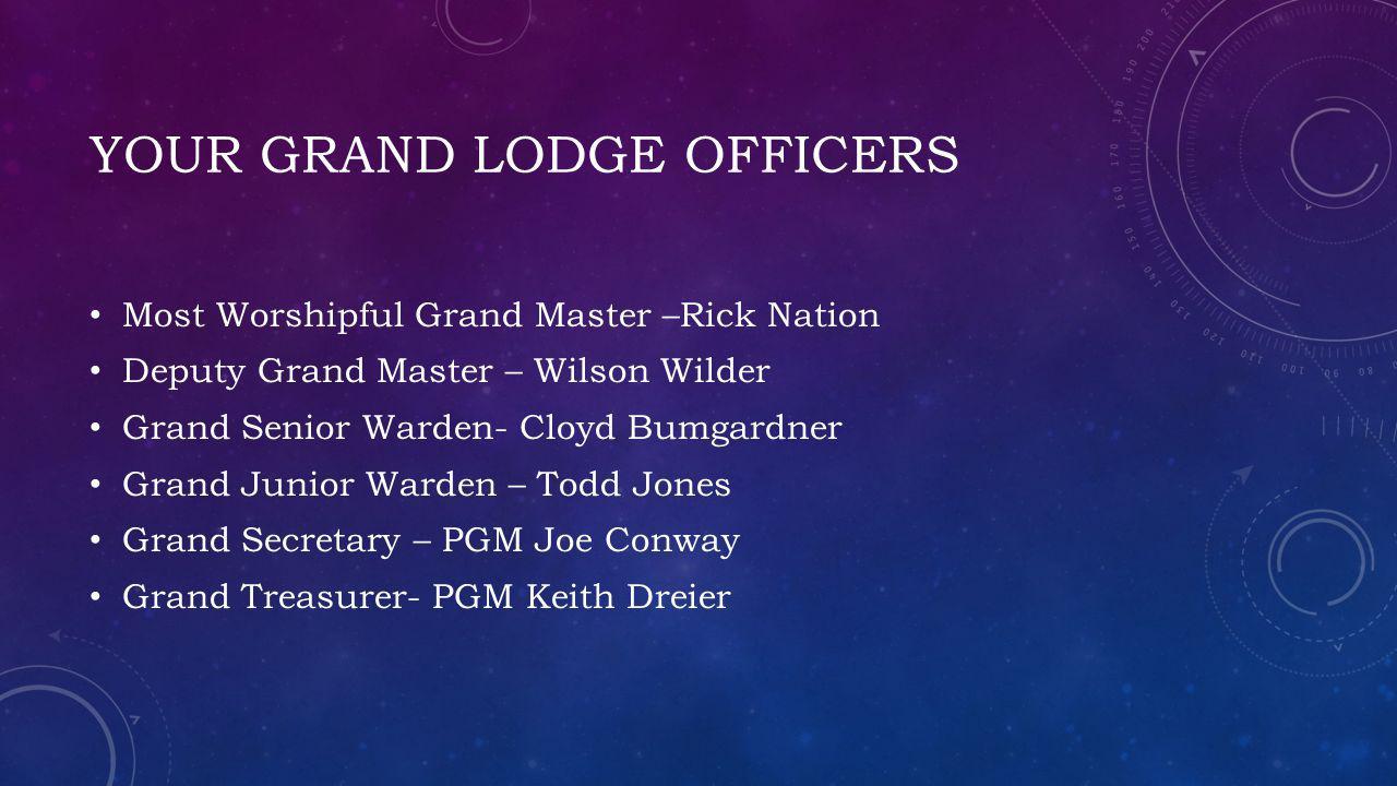 YOUR GRAND LODGE OFFICERS Most Worshipful Grand Master –Rick Nation Deputy Grand Master – Wilson Wilder Grand Senior Warden- Cloyd Bumgardner Grand Ju