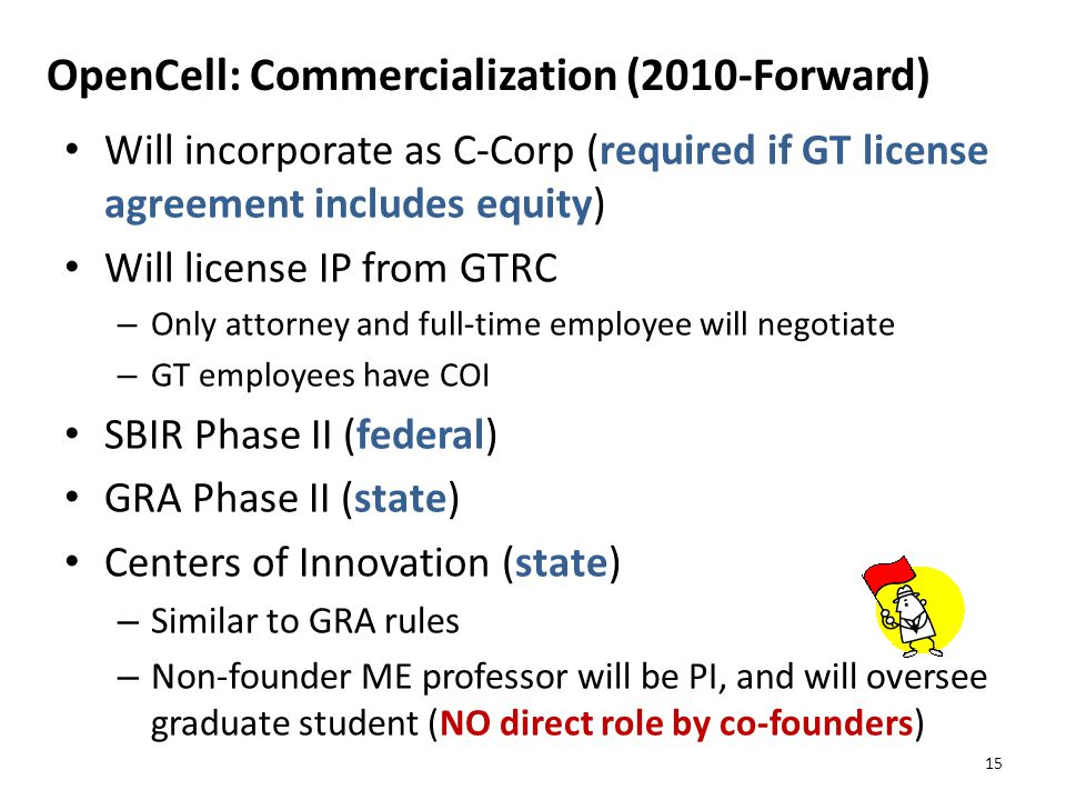 OpenCell: Commercialization (2010-Forward) Will incorporate as C-Corp (required if GT license agreement includes equity) Will license IP from GTRC – Only attorney and full-time employee will negotiate – GT employees have COI SBIR Phase II (federal) GRA Phase II (state) Centers of Innovation (state) – Similar to GRA rules – Non-founder ME professor will be PI, and will oversee graduate student (NO direct role by co-founders) 15