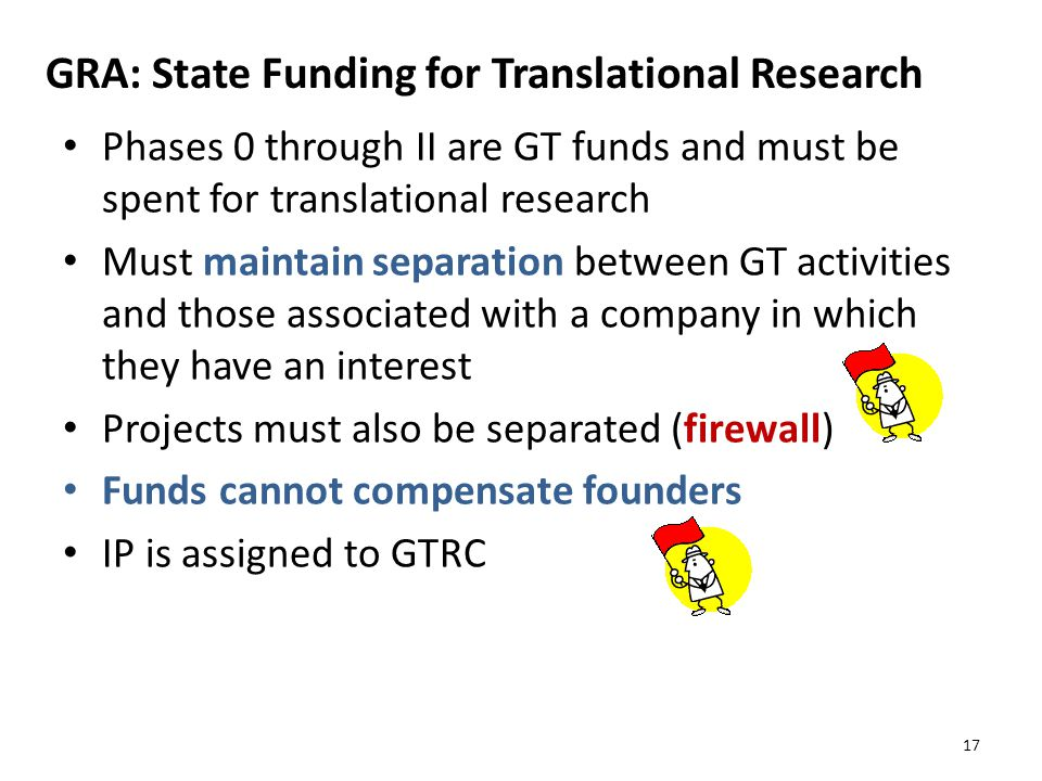 GRA: State Funding for Translational Research Phases 0 through II are GT funds and must be spent for translational research Must maintain separation between GT activities and those associated with a company in which they have an interest Projects must also be separated (firewall) Funds cannot compensate founders IP is assigned to GTRC 17