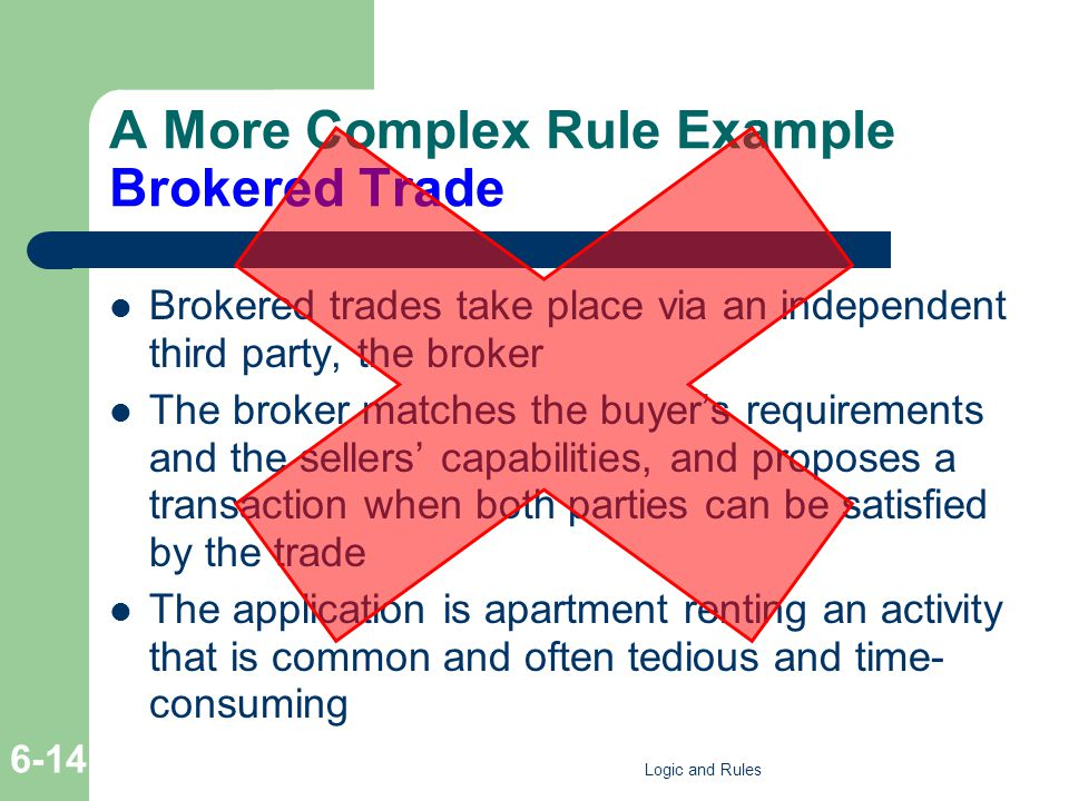 A More Complex Rule Example Brokered Trade Brokered trades take place via an independent third party, the broker The broker matches the buyers requirements and the sellers capabilities, and proposes a transaction when both parties can be satisfied by the trade The application is apartment renting an activity that is common and often tedious and time- consuming Logic and Rules 6-14