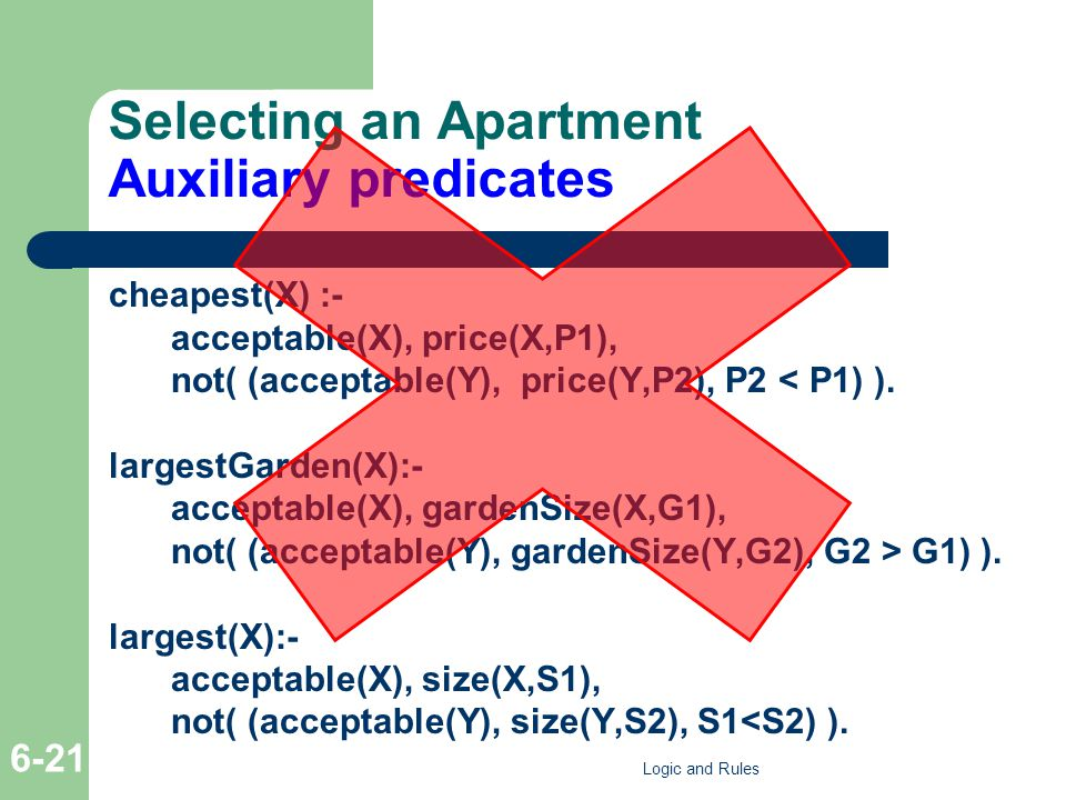 Selecting an Apartment Auxiliary predicates cheapest(X) :- acceptable(X), price(X,P1), not( (acceptable(Y), price(Y,P2), P2 < P1) ).