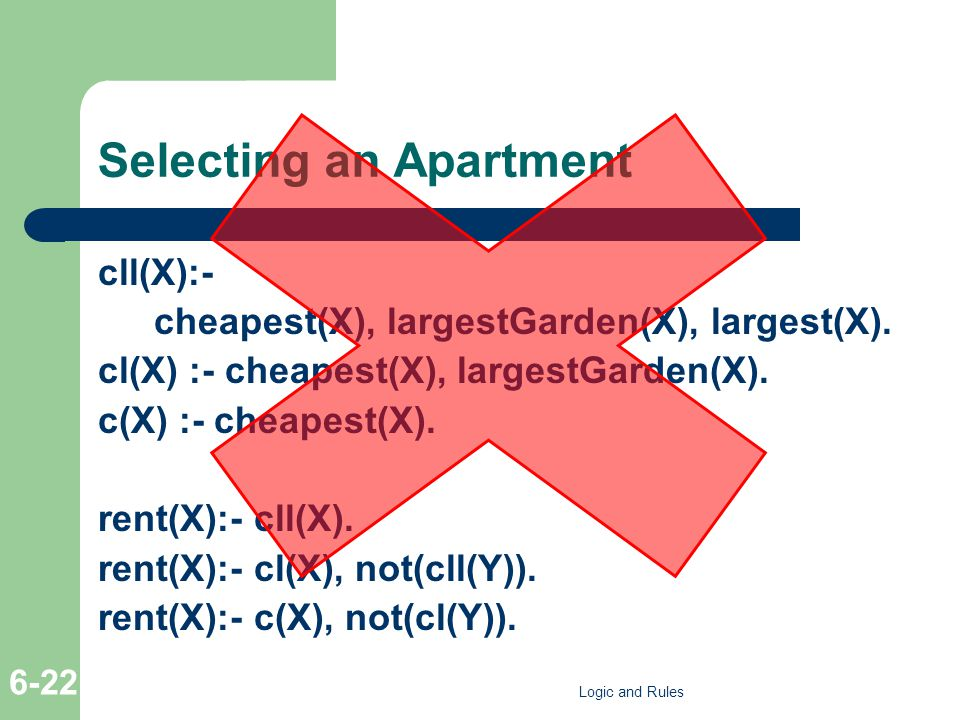 Selecting an Apartment cll(X):- cheapest(X), largestGarden(X), largest(X). cl(X) :- cheapest(X), largestGarden(X). c(X) :- cheapest(X). rent(X):- cll(