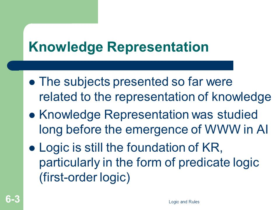 Knowledge Representation The subjects presented so far were related to the representation of knowledge Knowledge Representation was studied long before the emergence of WWW in AI Logic is still the foundation of KR, particularly in the form of predicate logic (first-order logic) Logic and Rules 6-3