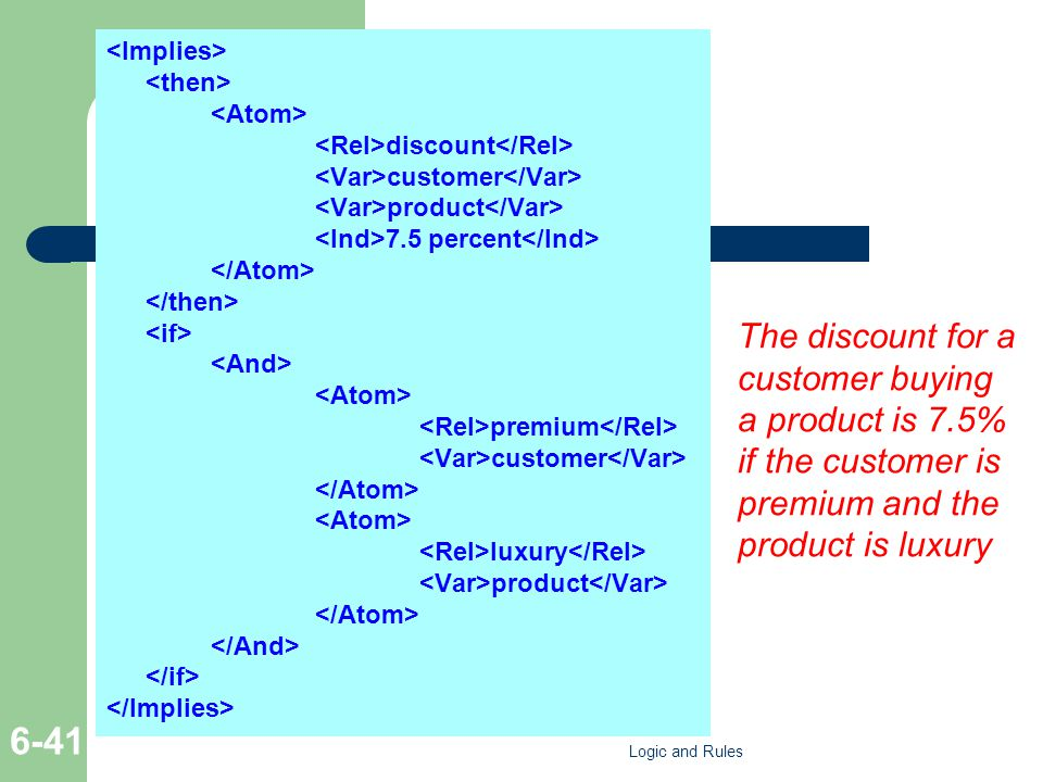 discount customer product 7.5 percent premium customer luxury product The discount for a customer buying a product is 7.5% if the customer is premium and the product is luxury Logic and Rules 6-41