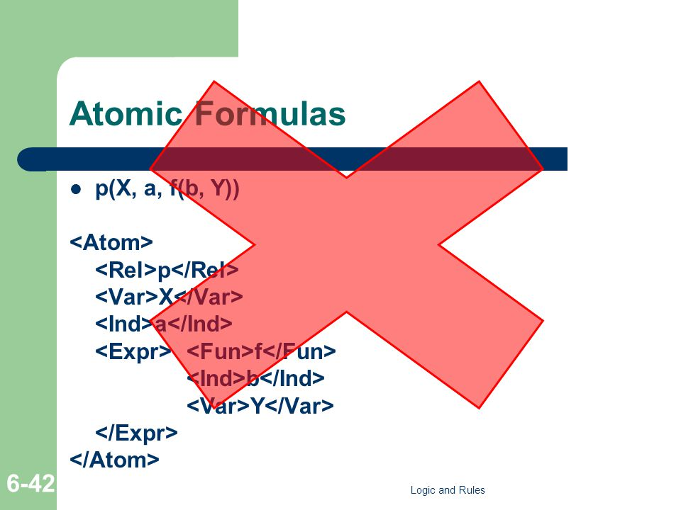 Atomic Formulas p(X, a, f(b, Y)) p X a f b Y Logic and Rules 6-42