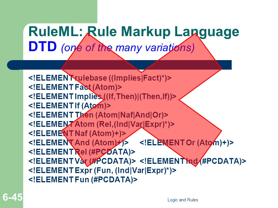 RuleML: Rule Markup Language DTD (one of the many variations) Logic and Rules 6-45