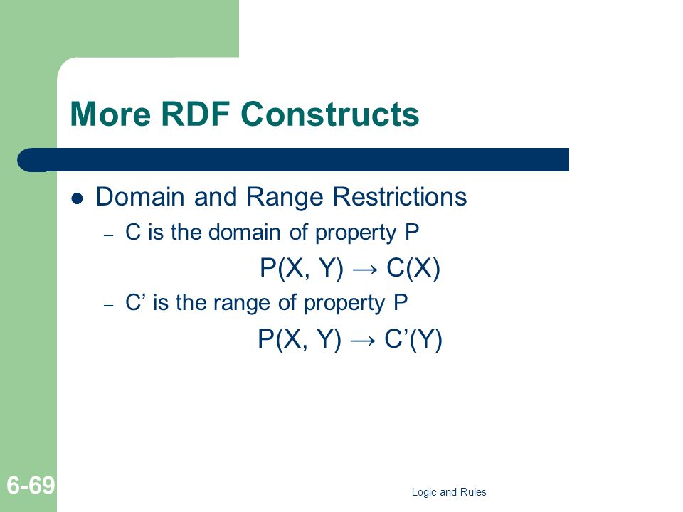 More RDF Constructs Domain and Range Restrictions – C is the domain of property P P(X, Y) C(X) – C is the range of property P P(X, Y) C(Y) Logic and Rules 6-69