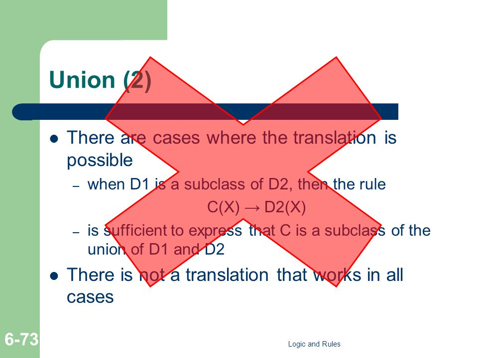 Union (2) There are cases where the translation is possible – when D1 is a subclass of D2, then the rule C(X) D2(X) – is sufficient to express that C