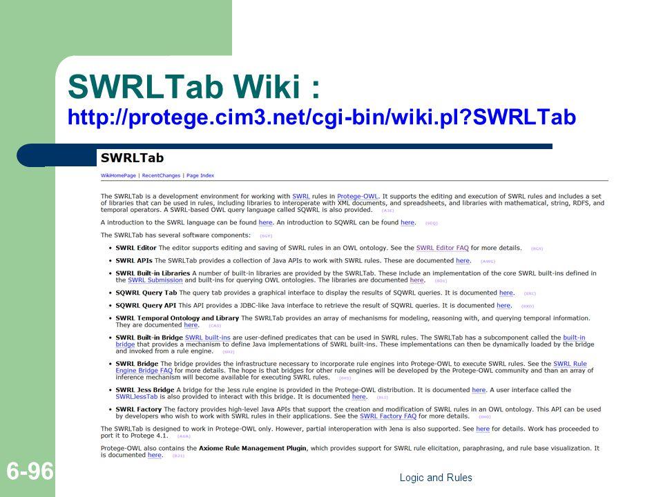 SWRLTab Wiki : http://protege.cim3.net/cgi-bin/wiki.pl SWRLTab Logic and Rules 6-96