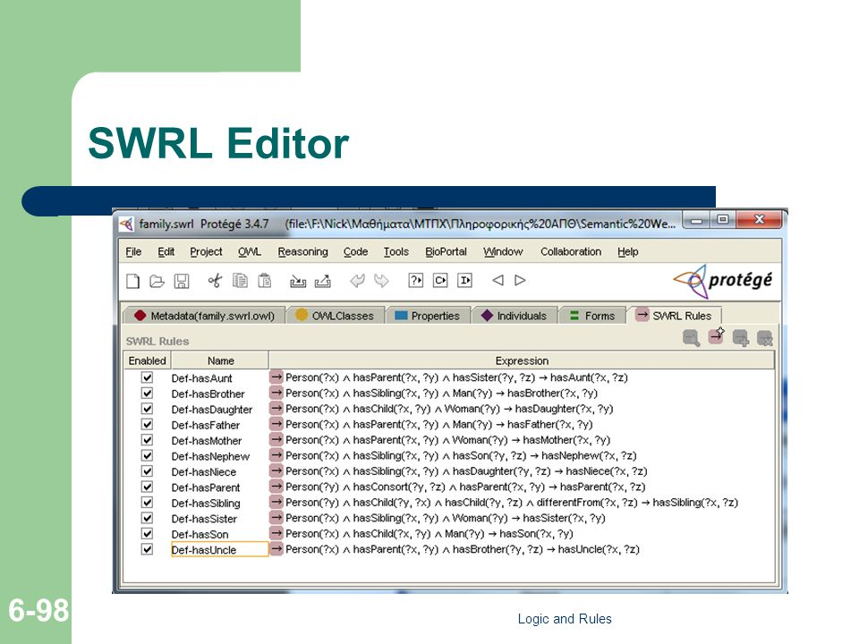 SWRL Editor Logic and Rules 6-98