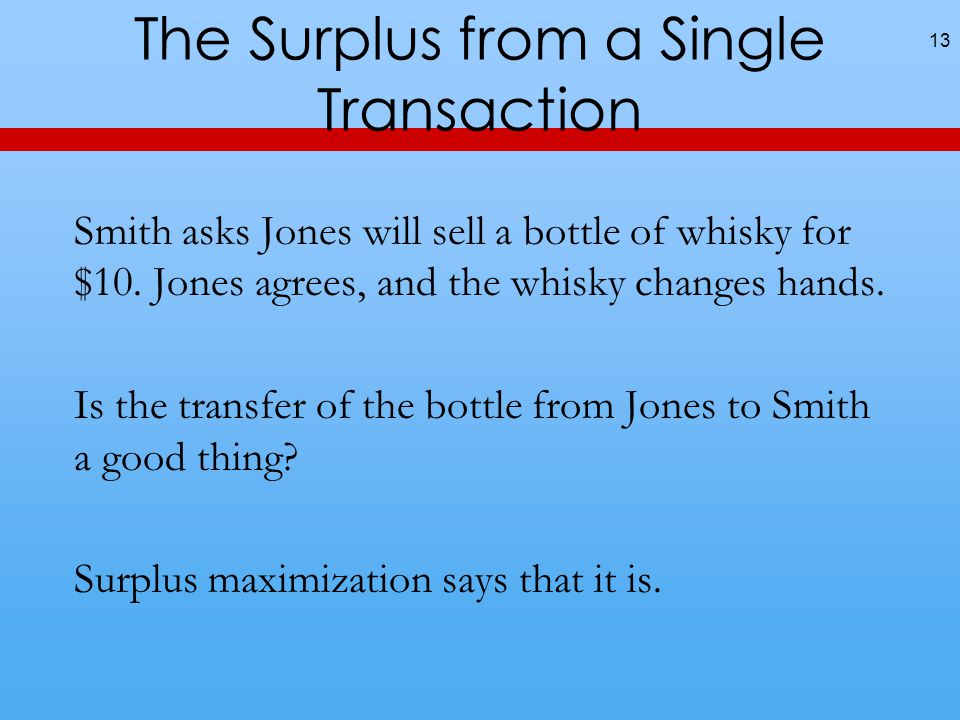 The Surplus from a Single Transaction Smith asks Jones will sell a bottle of whisky for $10.