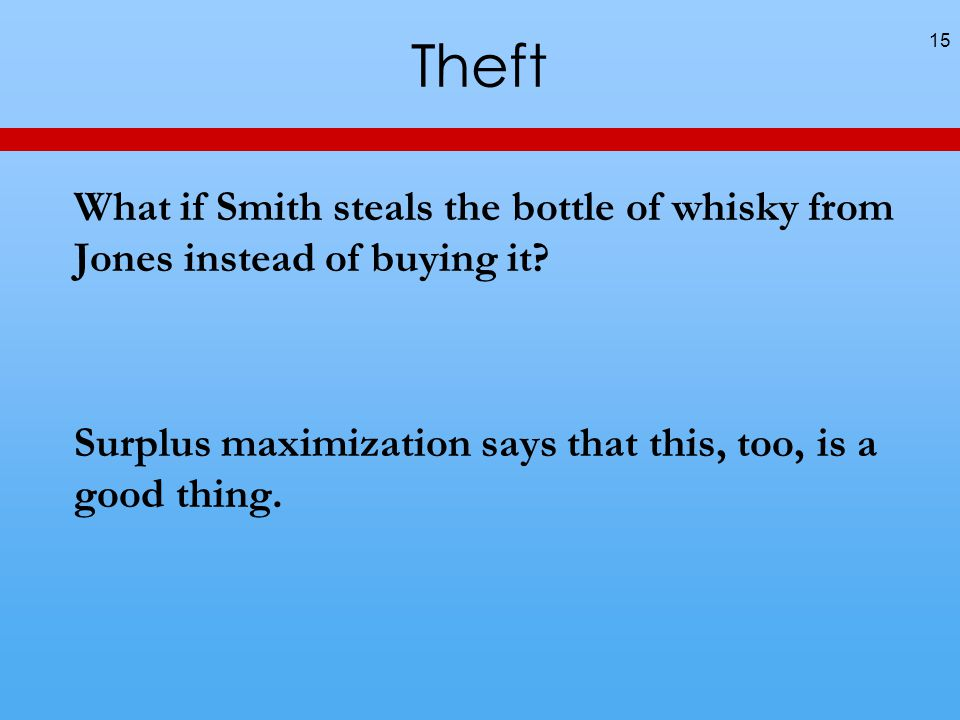 Theft What if Smith steals the bottle of whisky from Jones instead of buying it.