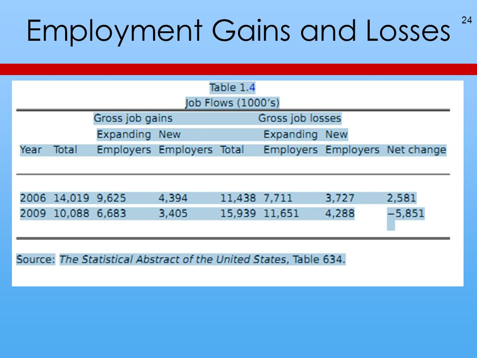 Employment Gains and Losses 24