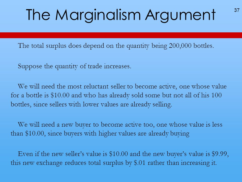 The Marginalism Argument The total surplus does depend on the quantity being 200,000 bottles.