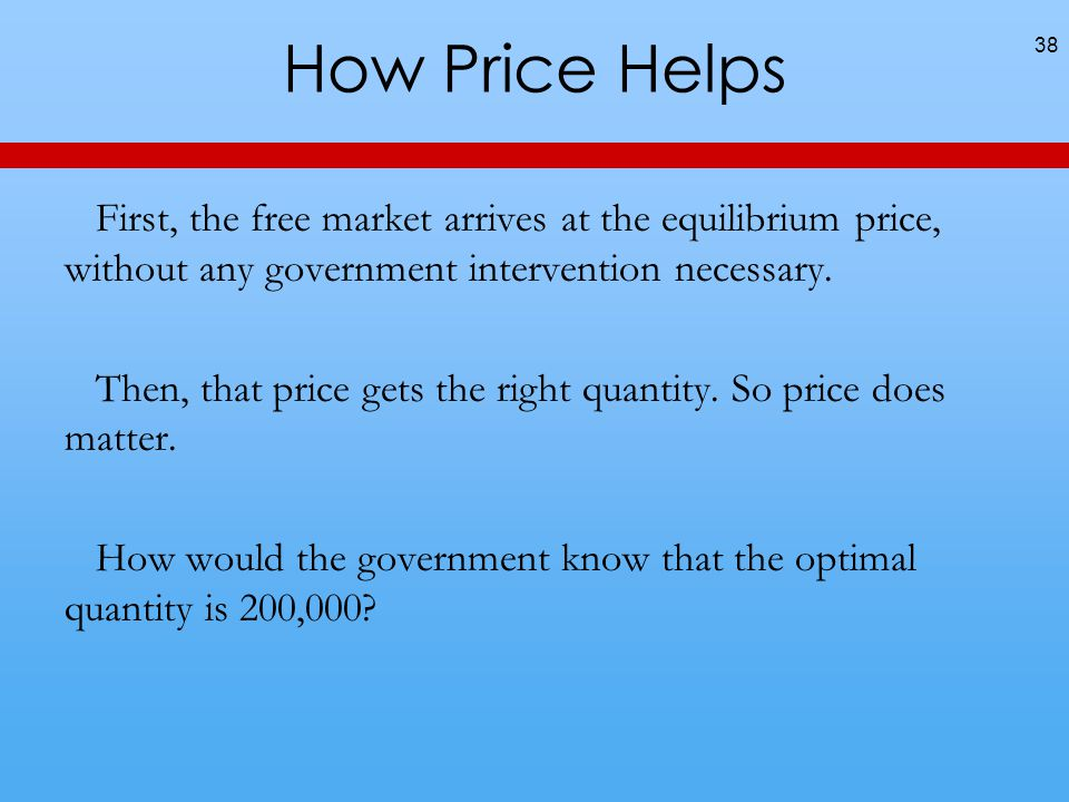 How Price Helps First, the free market arrives at the equilibrium price, without any government intervention necessary.