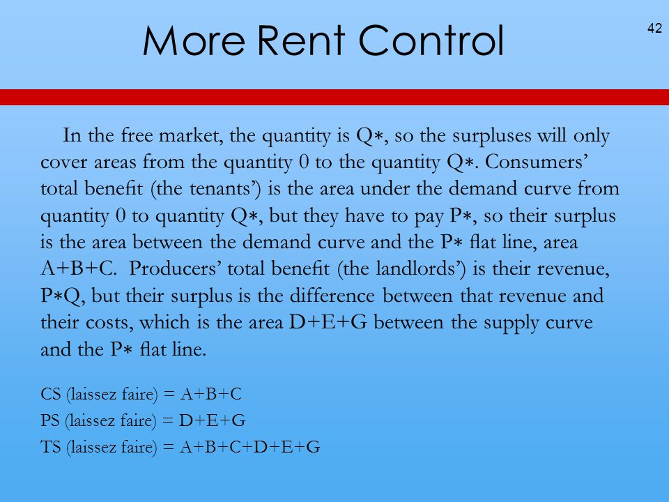 More Rent Control In the free market, the quantity is Q, so the surpluses will only cover areas from the quantity 0 to the quantity Q.