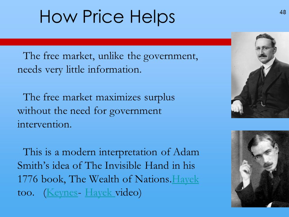 How Price Helps The free market, unlike the government, needs very little information.