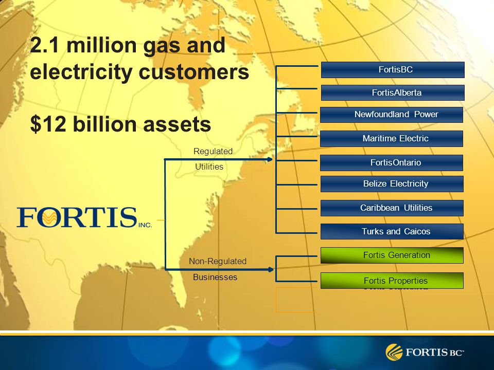 Regulated Utilities Businesses Fortis Generation Fortis Properties Newfoundland Power Maritime Electric FortisOntario Belize Electricity Caribbean Utilities FortisBC FortisAlberta Non-Regulated Turks and Caicos 2.1 million gas and electricity customers $12 billion assets