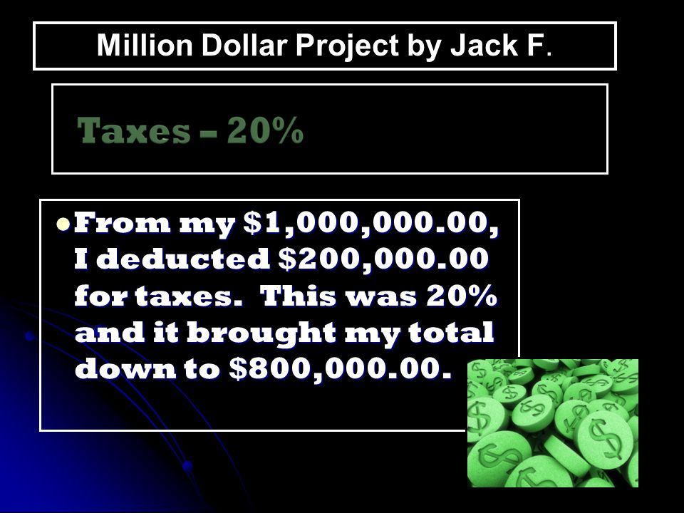 From my $1,000,000.00, I deducted $200,000.00 for taxes. This was 20% and it brought my total down to $800,000.00. From my $1,000,000.00, I deducted $