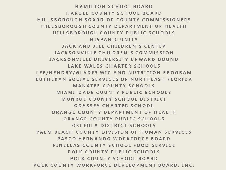 Florida Afterschool Meal Programs Special Provisions for Summer Food Service Sponsors