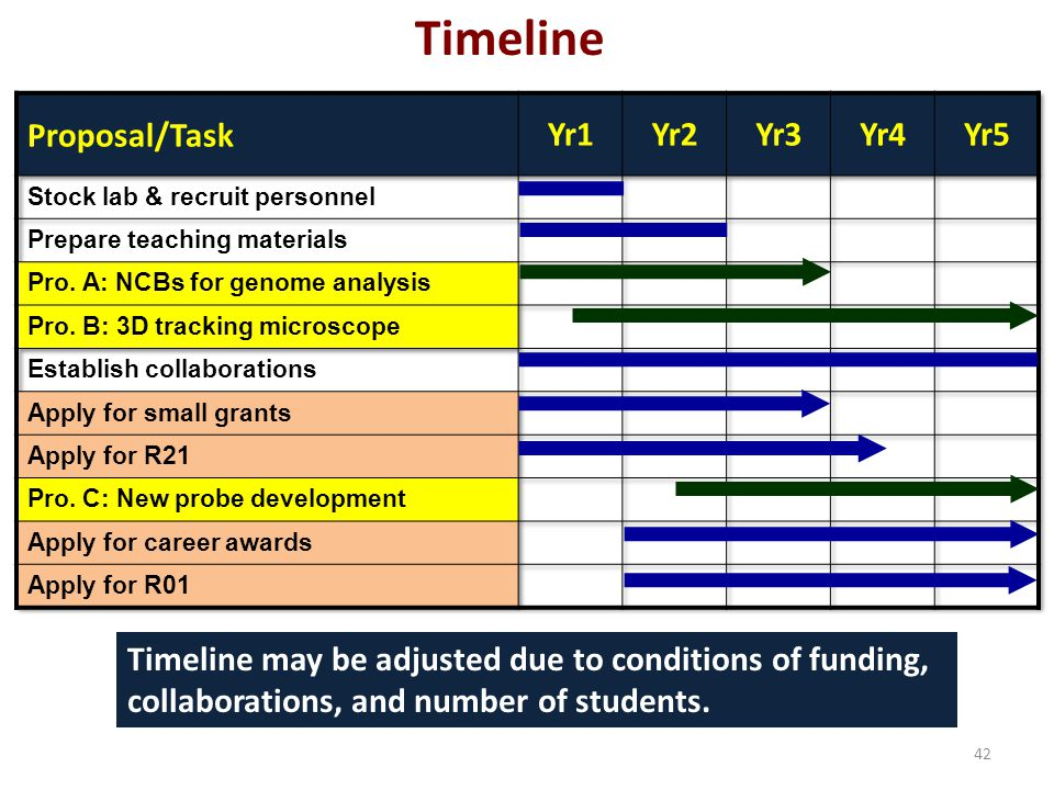 42 Timeline Timeline may be adjusted due to conditions of funding, collaborations, and number of students.